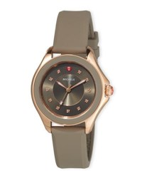 Michele Cape Topaz Watch With Silicone Strap Brown