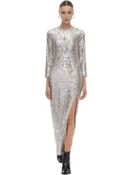 Zadig And Voltaire Sequined Long Dress Nude