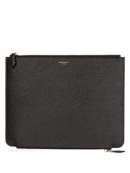Givenchy Double Zip Grained Leather Pouch Black