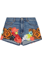 Christopher Kane Floral Appliqued Denim Shorts