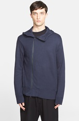 Y 3 Brushed Asymmetrical Zip Hoodie Night Navy