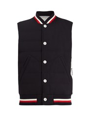 Moncler Gamme Bleu Waffle Knit Quilted Padded Gilet Navy