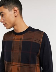Ben Sherman Checked Front Crew Neck Jumper Navy