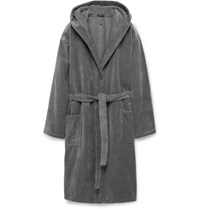 Schiesser Cotton Terry Hooded Robe Gray