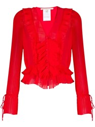 Marco De Vincenzo Pleated Ruffled Blouse 60