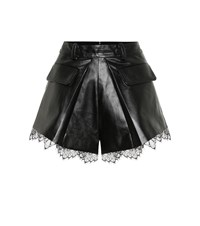 Self Portrait High Rise Faux Leather Shorts Black