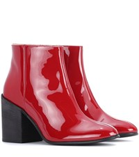 Acne Studios Beth Patent Leather Ankle Boots Red