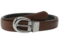 Lauren Ralph Lauren Lanesborough 1 Embossed Croc Smooth Reversible Bourbon Black Women's Belts Brown
