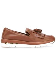 Salvatore Ferragamo Rubber Sole Tassel Loafers Brown