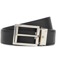 Montblanc 3.5Cm Black And Brown Reversible Cross Grain Leather Belt Black