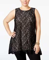 Alfani Plus Size Lace Swing Top Only At Macy's Deep Black