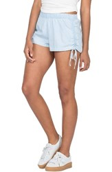 Volcom Women's Ruched Chambray Shorts Ocean