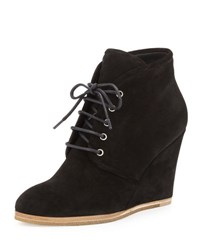 Giuseppe Zanotti Suede Lace Up Desert Wedge Boot Black