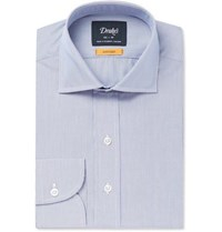 Drakes Blue Easyday Cutaway Collar Striped Cotton Shirt