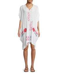 Johnny Was Tillson Embroidered Georgette Drama Caftan White