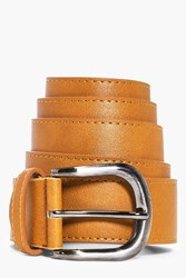 Boohoo Faux Leather Belt With Metal Buckle Tan