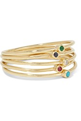 Jennifer Meyer Set Of Five 18 Karat Gold Multi Stone Rings 6