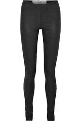 Rick Owens Textured Leather And Stretch Cotton Leggings Black