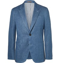 Berluti Blue Stretch Cotton And Linen Blend Suit Jacket Blue