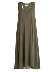 The Great Swing Sleeveless Cotton Jersey Dress Khaki