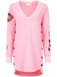 Andrea Bogosian Embroidered Sweatshirt Pink And Purple