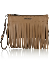 Miu Miu Fringed Leather Pouch