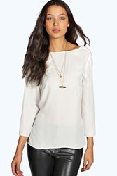 Boohoo Georgie Wrap Back 3 4 Sleeve Blouse Ivory