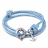 Anchor And Crew Blue Dash Clyde Rope Silver Bracelet