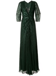 Jenny Packham Embellished Maxi Dress Green