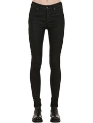 Rick Owens Waxed Skinny Stretch Cotton Denim Jeans Black