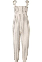 Hatch The Jojo Smocked Crinkled Cotton Gauze Jumpsuit Off White