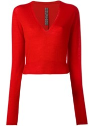 Rick Owens Cropped Jumper Red