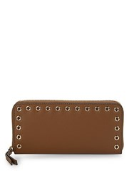 Vince Camuto Grommet Leather Zip Around Wallet Dark Rum