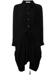 Peter Jensen Ruffled Front Shirt Dress Black