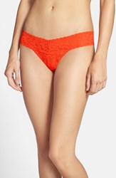 Women's Hanky Panky 'Signature Lace' Low Rise Thong Orange Persimmon