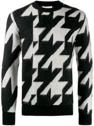 Alexander Mcqueen Houndstooth Knitted Sweater Black