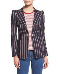 Marc Jacobs Structured Selvedge Striped Denim Blazer Indigo Women's