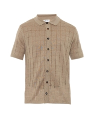 Faconnable Square Knit Linen Polo Shirt