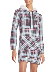 Roudelain Sherpa Lined Nightgown And Socks Set Grey Plaid