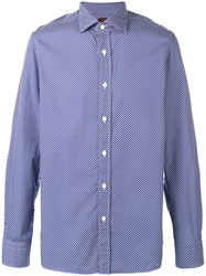 Massimo Piombo Mp Polka Dot Print Shirt Blue