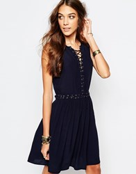First And I Eyelet Detail Tie Up Dress Navy
