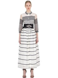 Sara Roka Striped Silk Cotton Organza Dress