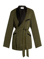 Raey Striped Satin Smoking Jacket Green