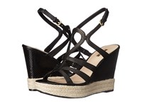 Guess Habbie Black Leather Women's Wedge Shoes