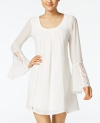 Sequin Hearts Juniors' Crochet Bell Sleeve Dress White