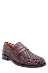 Robert Graham Forster Woven Penny Loafer Brown Leather