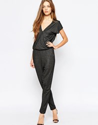 Selected Ganna Wrap Front Jumpsuit In Soft Glitter Black