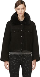 Acne Studios Black Shearling Move Pre Cropped Jacket