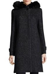 Cinzia Rocca Tweed Fox Fur Coat Black