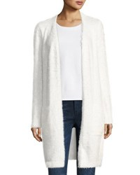 Neiman Marcus Feather Knit Open Front Cardigan White